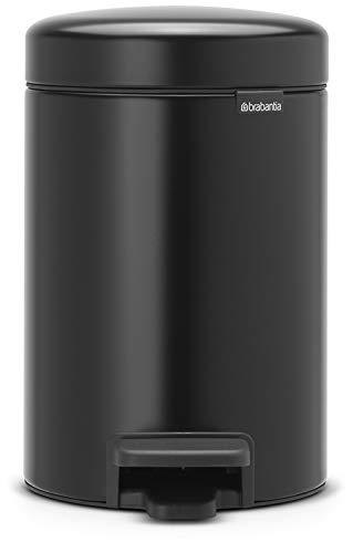 Brabantia Treteimer mit Inneneimer aus Kunststoff, stahl, Matt Schwarz, 3 Liter -