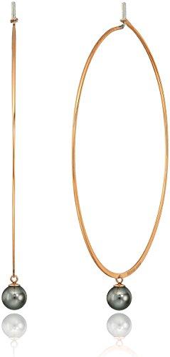 Michael Kors Modern Classic Pearl Rose Gold-Tone and White Grey Hoop Earrings