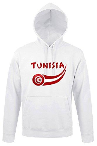 Supportershop tunisia felpa da uomo con cappuccio, uomo, tunisie, bianco, m