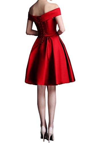 Milano Bride Damen Modisch Ab von der Schulter Abenkleider Festkelider Abschlusskleider Kleider Kurz Mini Dunkelgruen