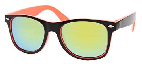 Cheapass Sonnenbrille Wayfarer Schwarz Orange Verspiegelt Nerd Unisex