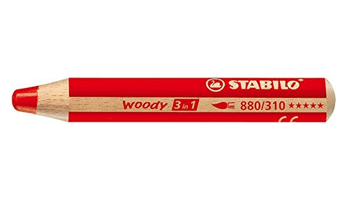 Buntstift, Wasserfarbe & Wachsmalkreide - STABILO woody 3 in 1 - rot