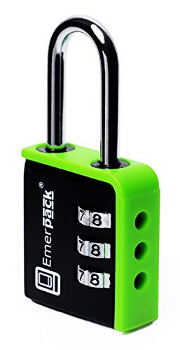 Kombinationsschloss, Zahlenschloss für Spind / Vorhängeschloss mit langem Bügel / Verschiedene Farben / Zahlenschlösser für Fitnesscenter, Schulspinde, Sporttaschen, Gepäck oder Koffer / Zahlenschlösser für Spinde mit Hochbügel (Schwarz-Grün)