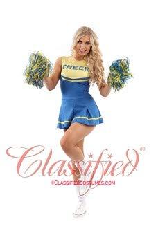 Classified Erwachsenen-Kostüm Cheerleader-Kostüm, Blau/Gelb, Größe XS