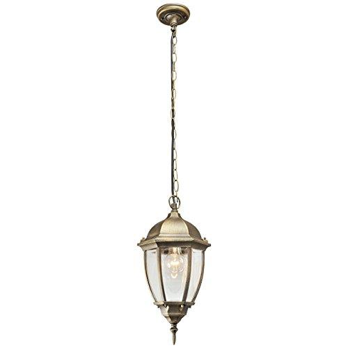 Lámpara de techo, làmpara colgante, estilo rústico, estructura hecha de metal, color oro antiguo, pátina, plafón de vidrio, para jardin, iluminacion exterior, bombilla no incluida en el pedido 1 x 95W E27 230 V IP44
