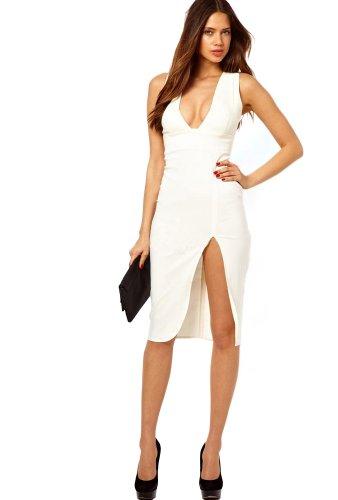 Robe Sexuelle Pour Femme Et Filles Avec Col V Blanc