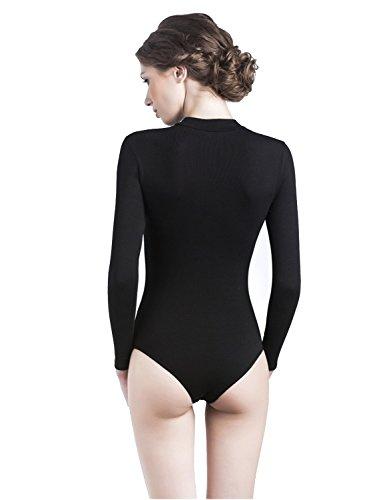 Uniconf Damen Langarm Body Stretch Baumwolle Weiß