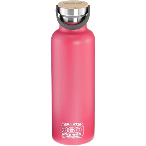 360° Degrees Vacuum Insulated Drink Bottle 750ml Pink 2019 Trinkflasche