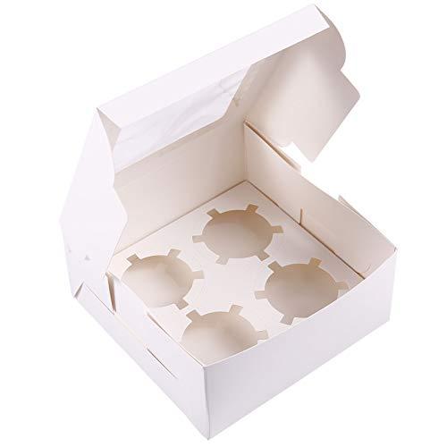 Anladia 4er Kuchenschachtel Cupcake Box Cupcake Koffer Gebäck verpackungKuchenkarton Kasten für Cupcakes Muffin Törtchen Torten -2 Sets