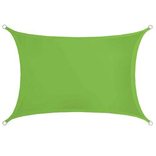 AMANKA UPF50+ Sonnensegel 3x2m Polyester Rechteck Wasserabweisend Stabiles Garten-Segel Terrasse Balkon Wetterfest Grün