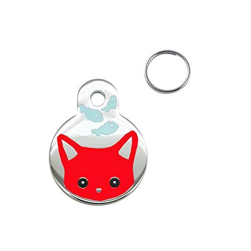 Steellwingsf Collare in Metallo per Cani e Gatti, con targhetta identificativa e Ciondolo per Telefono Red