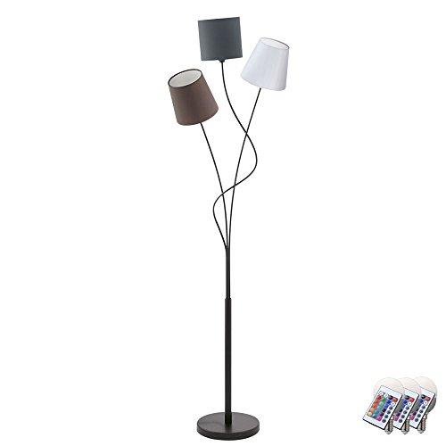 Stand Fluter gebogen Fernbedienung Stoff Leuchte Fuß Schalter im Set inkl. RGB LED Leuchtmittel