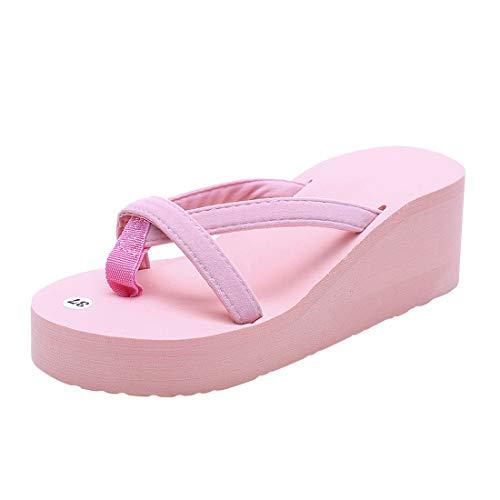 Emu Leder (Damen Schuhe, Mode Hausschuhe Sommer Mode Slipper Flip Flops Strand Keil Dicke Sohle Schuhe mit Absatz Flipflop Lässige Schuhe für zu Hause Stiefel Strandschuhe)