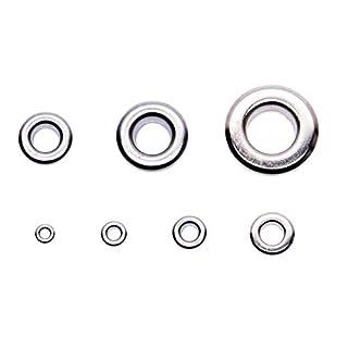 GETMORE Parts Ösen mit Gegenscheiben, Messing, rostfrei - 250 Stück, Silber, nickelfrei, 5 mm