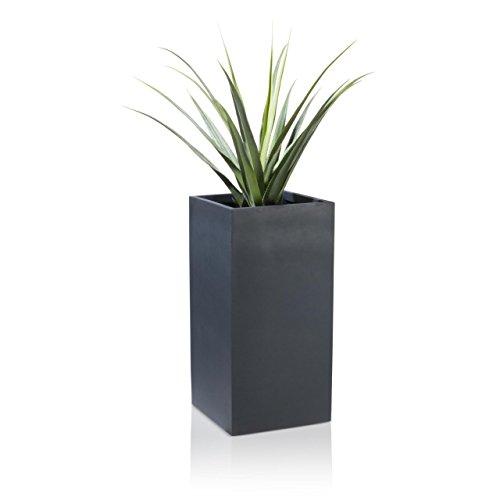 Pflanzkübel Blumenkübel TORRE Fiberglas Pflanztopf - Farbe: anthrazit matt - robuster, UV-beständiger, wetterfester & frostsicherer Blumentopf für den Garten, Innen- & Außenbereiche