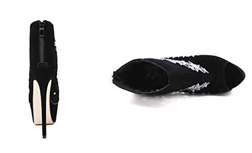 Beauqueen 6 cm Piattaforma OL Peep-toe Stivali Suede Stelle Stiletto 16 cm Tote Donna Scarpe antisdrucciolo Roma Roma 34-40 Black