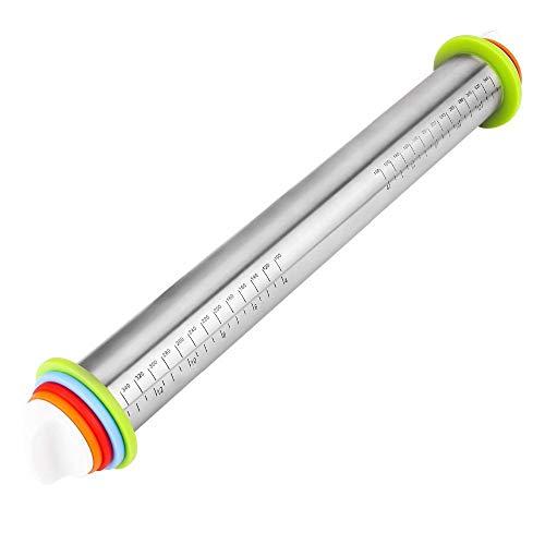 ZHYP 17Zoll Einstellbarer Stainless Steel Rolling Pin Mit Dough Mat Dough Roller Mit 4 Abnehmbaren Einstellbaren Thickness Rings (Rolling Pin Ringe)