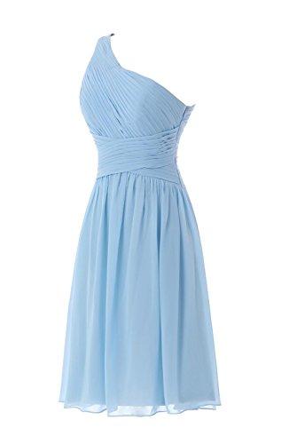 YiYaDawn Kurzes Schlichtes One-Shoulder Kleid Brautjungfernkleid für Damen Koralle