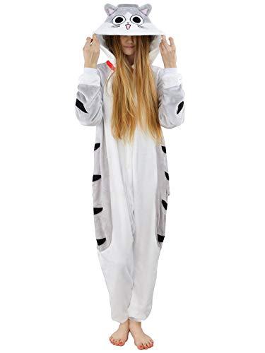 Damen Fleece Einteiler Nachtwäsche Pyjama Kostüm Kapuze CHI'S CAT grau Gr. M