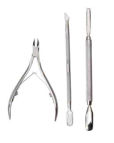 Set Manucure Ongles de 3 Pousse / Coupe / Pince-Cuticules en acier inoxydable par Cheeky®