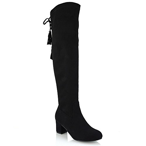 New Womens Over The Knee High Stretch Leg Ladies Block Heel Lace...