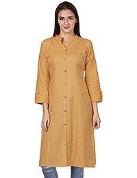 Vastraa Fusion Women Solid Straight Cotton Khadi Kurta/Kurti - Available in 25 Colour and 9 Size Options