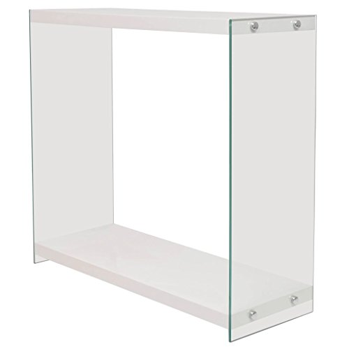 Festnight tavolo consolle rettangolare moderno in vetro e mdf lucido bianco/rovere con un ripiano per soggiorno/salotto/ingresso/camera