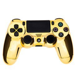 Chrome Gold PlayStation 4 Rapid Fire Modded Controller for COD Black Ops3, Infinity Warfare, AW, Destiny, Battlefield: Quick Scope, Drop Shot, Auto Run, Sniped Breath, Mimic, More (Cod Aw Modded Controller)