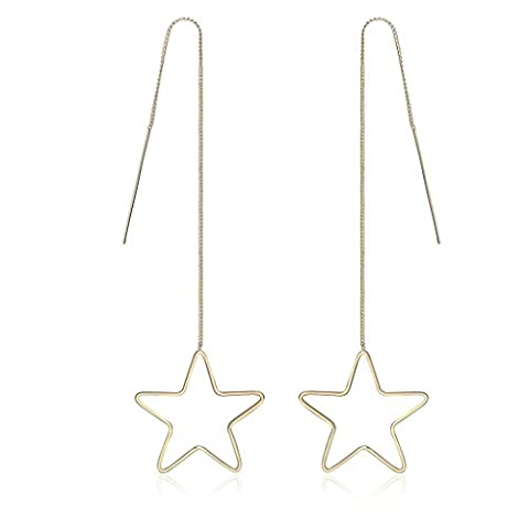 AMDXD Jewelry Gold Women Threader Earrings Big Five Pointed Star 17.8X3.4CM,Gold Plated Earrings