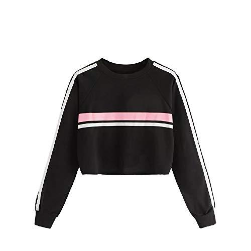 Luckycat Lässige Damen Sweatshirt O-Ausschnitt Splicing Stripe Pullover Sweatshirt Mode 2018