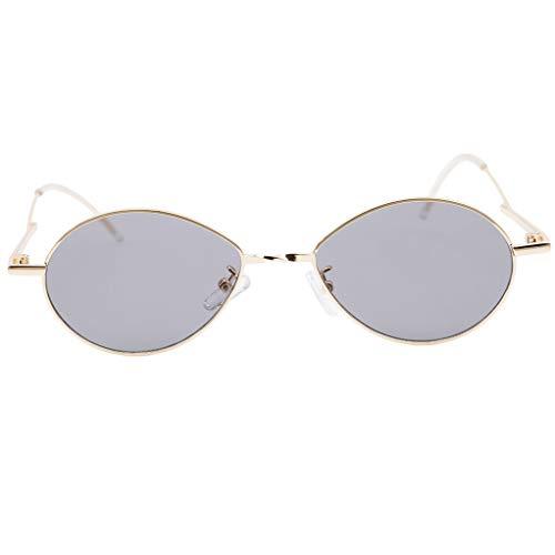 SEVENHOPE Männer Frauen Kleine ovale Trend Vintage tropfenförmige Sonnenbrille (grau)