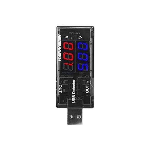 Jasnyfall USB-Tester mit zwei Displays DC Digital Current Voltage Detector Ladegerätanzeige schwarz