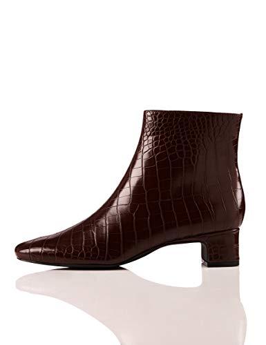 Find. Block Heel Square Toe Botines, Braun Brown Croco, 39 EU