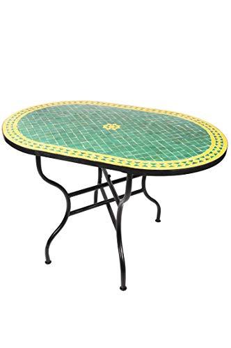 ORIGINAL Marokkanischer Mosaiktisch Gartentisch 120x80cm Groß eckig oval klappbar   Eckiger klappbarer Mosaik Esstisch Mediterran   als Klapptisch für Balkon oder Garten   Bilbao Grün Gelb 120x80cm