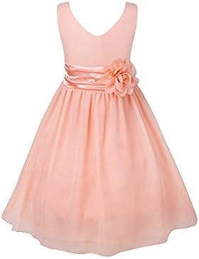 Freebily Kinder mädchen kleid festlich kinderkleid Blumensmädchenkleid Hochzeit Prinzessin Kleid Chiffon Partykleid...