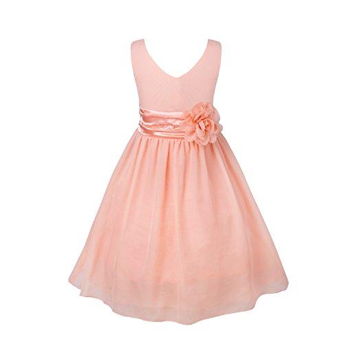 Freebily Festlich Kleid Kinderkleid Kinder Mädchen Hochzeit Blumensmädchenkleid Prinzessin Kleid Chiffonkleid Partykleid, Koralle Rosa, 92 (Herstellergröße: 2)