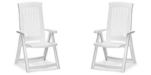 2 Gartenstühle aus Kunststoff Klappsessel Balkonstuhl Sessel Gartenmöbel mehrere Farben (Weiß)