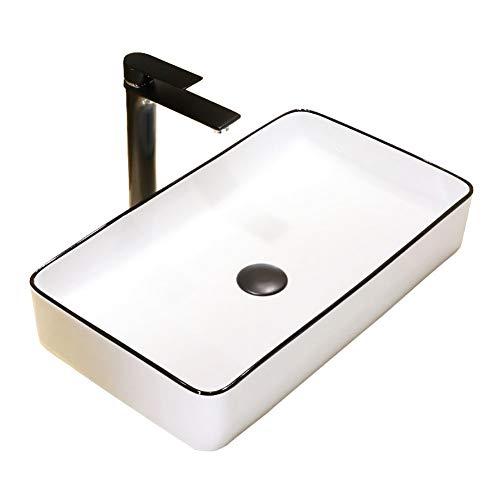SJZV Waschbecken für Badezimmer, weiße Aufsatzwaschbecken Keramikwaschbecken Aufsatz für Waschtischunterschrank