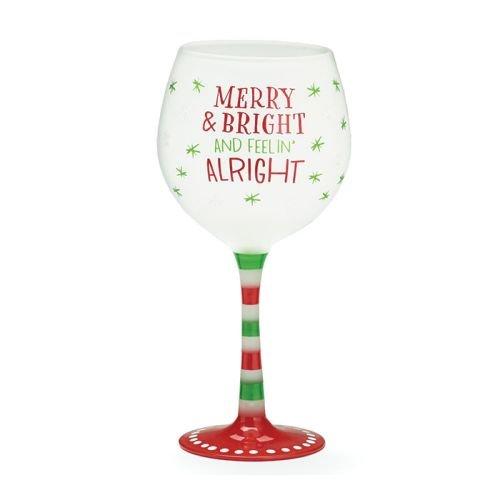 "Burton + Burton Glas Wein Urlaub Merry & hell und Feelin okay, 20 Oz. 9 1/2"" H X 2 3/4"" Rot, grün und klar"