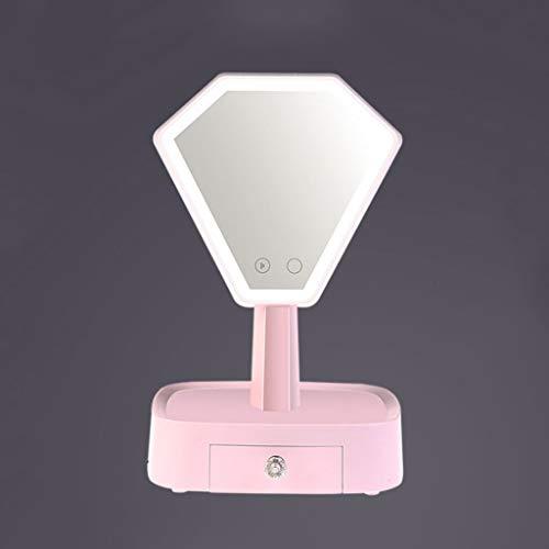 Silber, Glas, Audio (JinYiming Kosmetikspiegel Tischlampe Bluetooth Audio LED Kreative Lade Nachttischlampe High Definition Silber Überzogene Glas Intelligente Touch Dimmen Kosmetikspiegel)