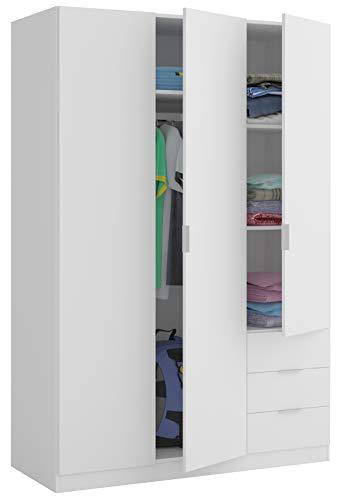 Miroytengo Armario Dormitorio Color Blanco 3 Puertas 3 cajones estantes y Barra...