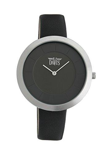 Davis 2030 - Montre Design Femme Extra Plate Cadran Noir Bracelet Cuir Noir