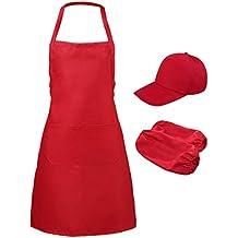 P Prettyia Delantal para Cocineras con Bolsillo Delantal Grande Uniforme para Hostelería Panadería