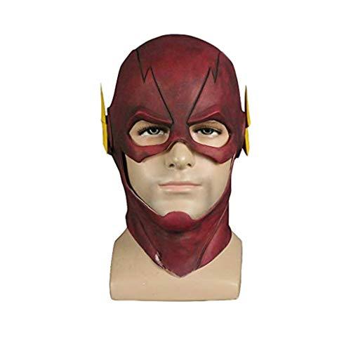 GanSouy Rote Maske Deluxe Latex Helm Film Cosplay Kostüm Replik Requisiten für Männer Halloween Kostüm Kleidung,The Flash-54cm~62cm Deluxe Latex Maske