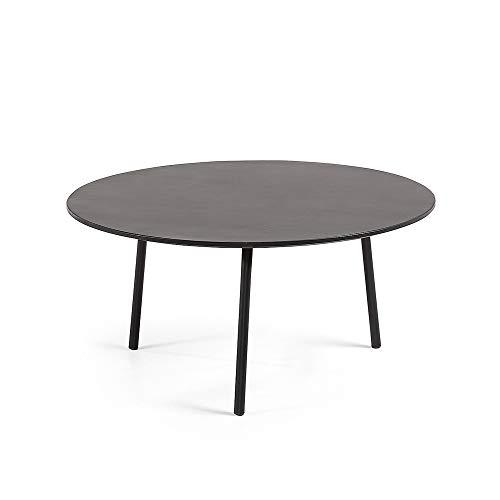 Kave Home Table Basse Ronde Mathis Ø70 cm polyciment Acier Noir