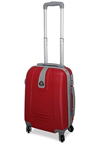 TROLLEY IN ABS 52X35X20 4 RUOTE adatto come BAGAGLIO A MANO per tutti compagnie aeree (ROSSO)