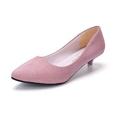 Talloni delle donne Primavera Estate Autunno Inverno Club Scarpe Comfort PU pelle scamosciata ufficio e vestito da carriera tacco basso casual Altri Rosa Grigio Nero Walking Pink