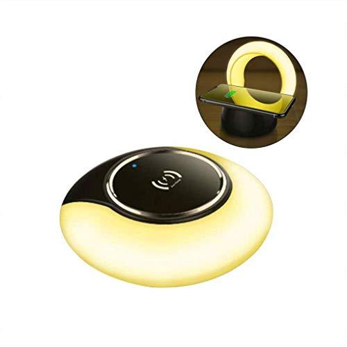 LED-Schreibtischlampe, Bluetooth-Lautsprecher mit schnellem, drahtlosem Ladegerät und pflegende Tischlampe mit Touch-Control, stufenloses Dimmen für iPhone X/XS/XR/XS MAX / 8-gelbes Licht -