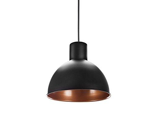 Auffällige Hängelampe Industrie Look mit Filament LED, Metall schwarz / innen bronze, Ø30cm - Industrie Led