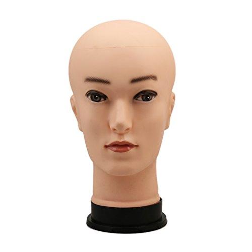 Hommes Chauve Tête de Mannequin en PVC Support à Echarpe Chapeau Perruques